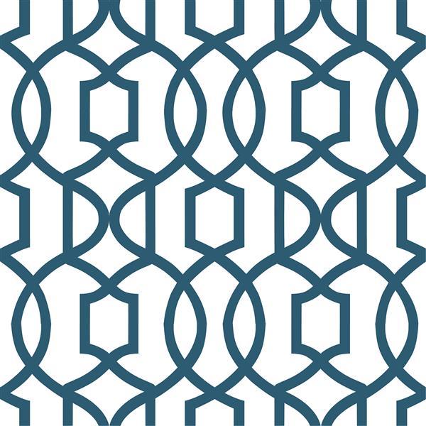 """Papier peint autocollant Grand Trellis, 20,5"""" x 216"""", bleu"""