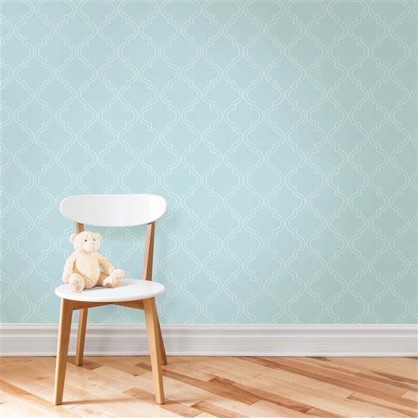 "NuWallpaper Sticker Wallpaper quatrefoil - 20.5"" x 216"" - Blue"