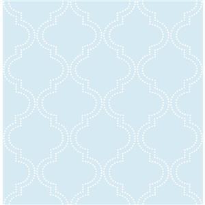 """Papier peint quadrilobée, 20,5"""" x 216"""", bleu"""