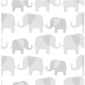 """Papier peint autocollant éléphants, 20,5"""" x 216"""""""