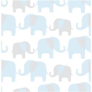 """Papier peint autocollant éléphants, 20,5"""" x 216"""", bleu"""
