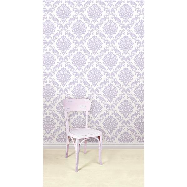"""NuWallpaper Ariel Sticker Wallpaper - 20.5"""" x 216"""" - Purple"""