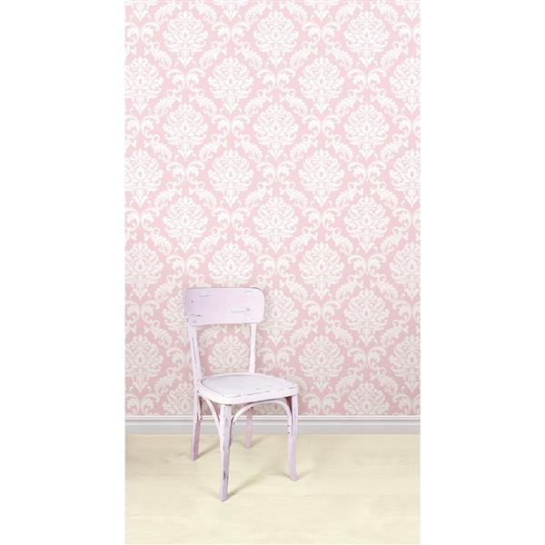 "NuWallpaper Ariel Sticker Wallpaper - 20.5"" x 216"" - Pink"