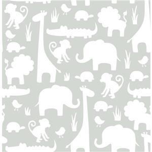 """Papier peint autocollant dinosaures, 20,5"""" x 216"""", gris"""