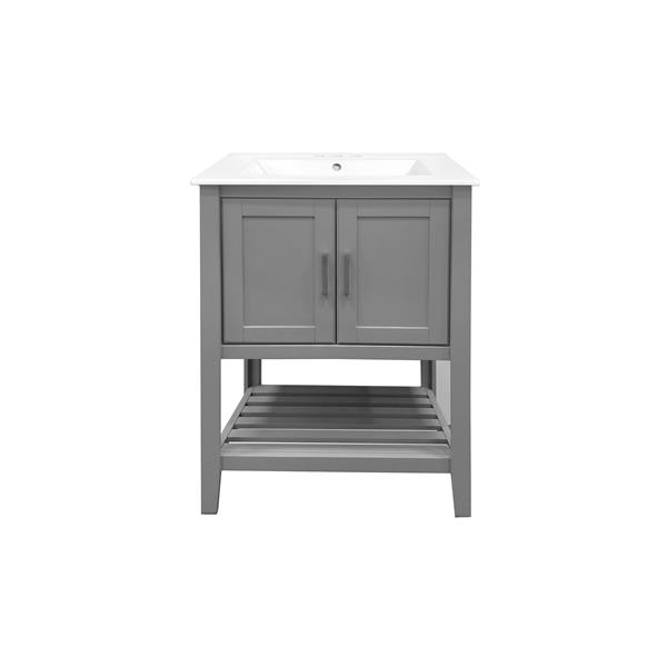 GEF Meuble-lavabo Lena avec comptoir en porcelaine, 24 po gris