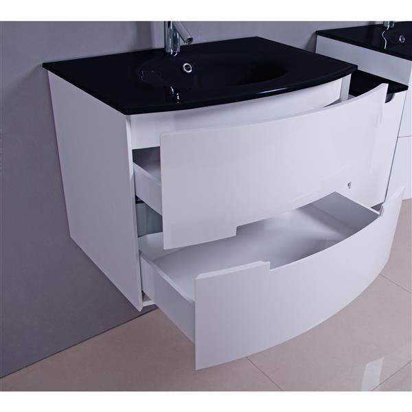Leila Vanity with Tempered-glass Top, 30-in White