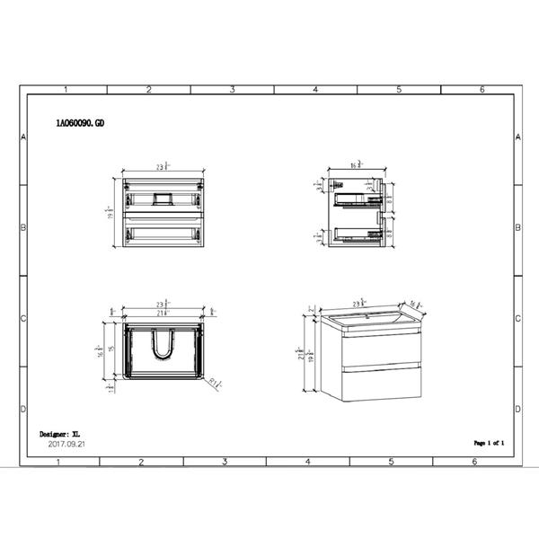 GEF Scarlett Meuble-lavabo avec comptoir acrylique , 24 po. blanc