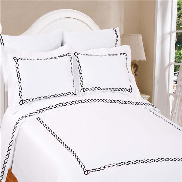 North Home Bedding Barcelona 310 Thread-Count Cotton White Queen Sheet Set