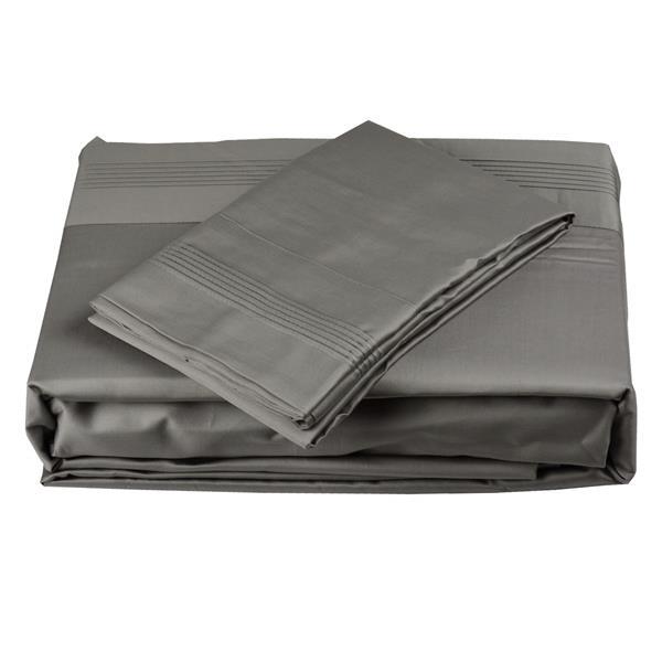 North Home Bedding Satin 600-Thread Count Grey Twin Sheet Set
