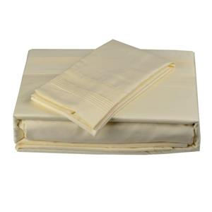 North Home Bedding Satin 600-Thread Count Ivory Twin Sheet Set