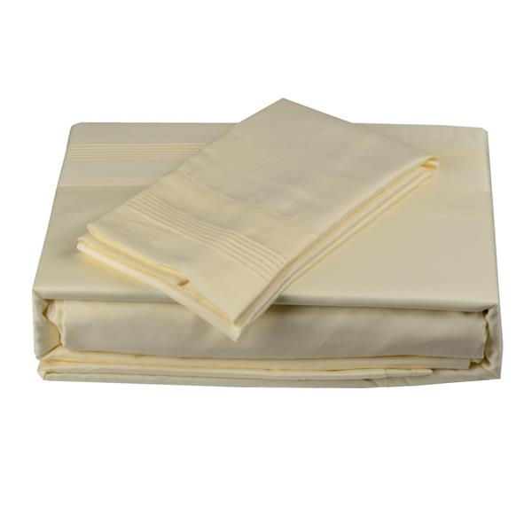 North Home Bedding Satin 600-Thread Count Ivory King Sheet Set