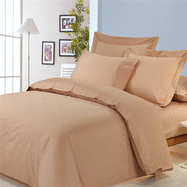 North Home Bedding Isabelle Jacquard King 3-Piece Cappuccino Duvet Cover Set
