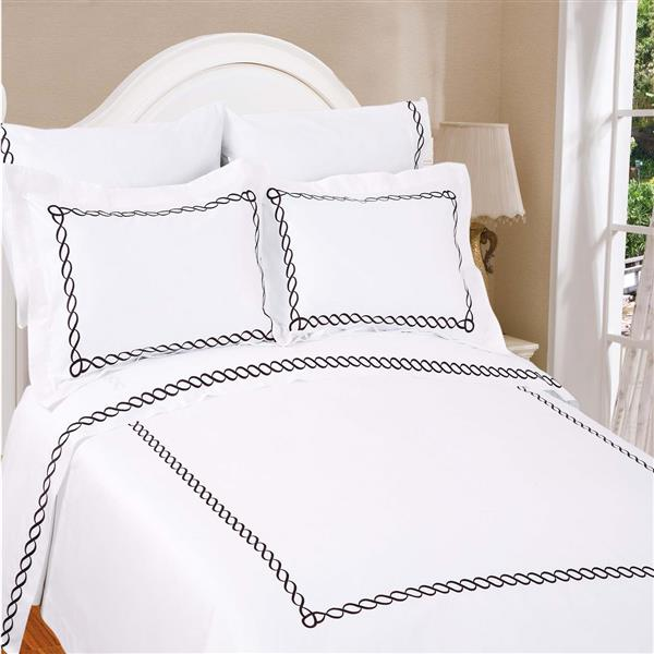 North Home Bedding Barcelona White Queen 3-Piece Duvet Cover Set