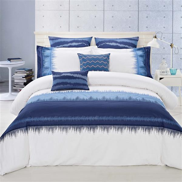 North Home Bedding Indigo Queen 7-Piece Duvet Cover Set