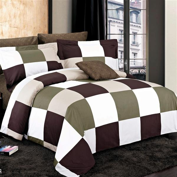 Ensemble housse de couette Parker Brown, grand lit, 4 mcx