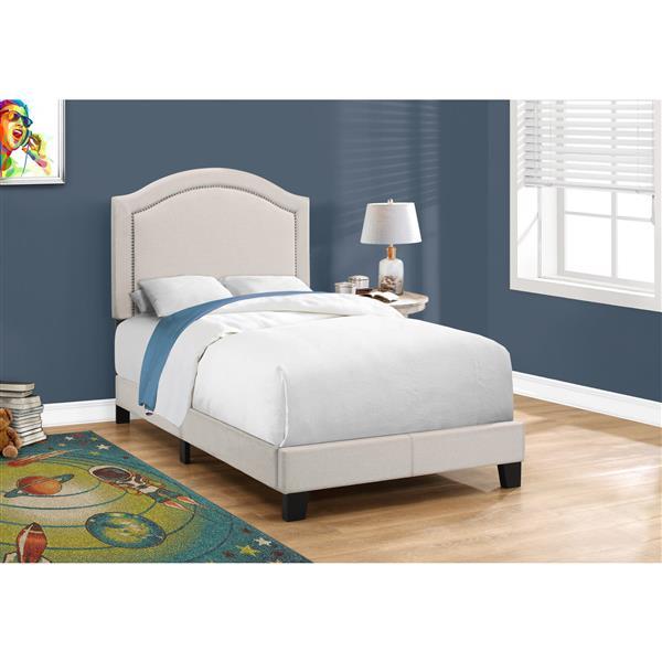 Monarch  Bed - Beige/Brass - Twin
