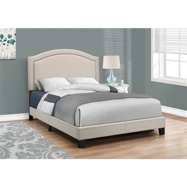 Base et tête de lit Monarch, beige/laiton, double