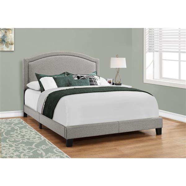 Lit Monarch, tissu gris et chrome, grand lit