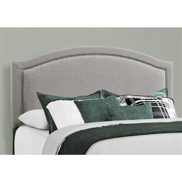 Monarch  Bed - Grey/Chrome - Queen