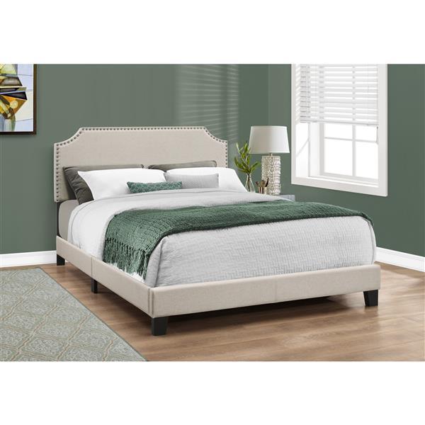Base et tête de lit Monarch, beige/laiton, grand lit