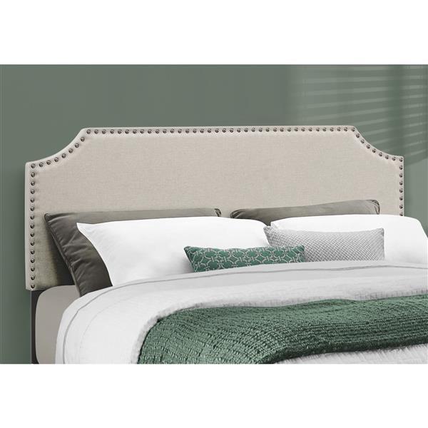 Monarch  Bed - Beige and Brass - Queen