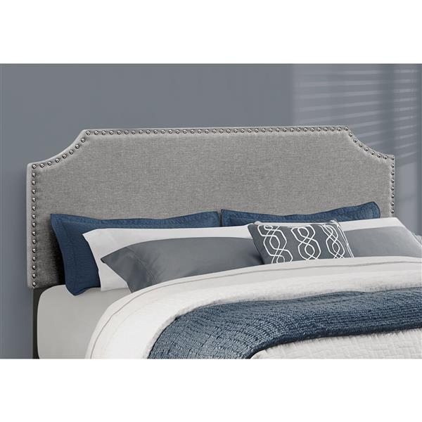 Monarch  Grey/Chrome  85.25-in x 64.25-in Queen Bed