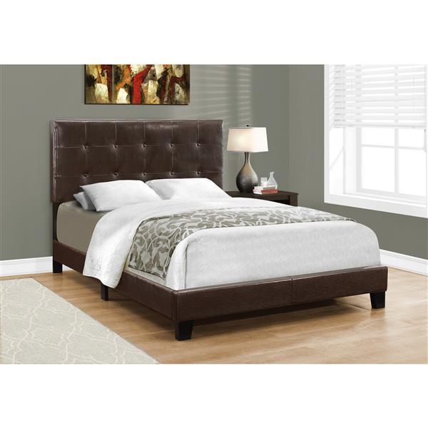 Tête et base de lit, similicuir brun foncé, double