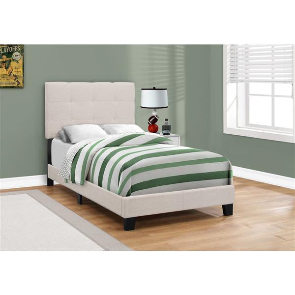Tête et base de lit Monarch en lin beige, simple