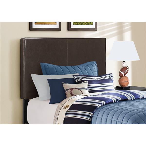 Base et tête de lit Monarch, similicuir brun, simple