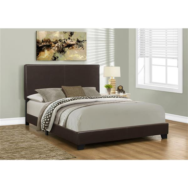 Monarch  Dark Brown 85.25-in x 64.25-in Queen Bed