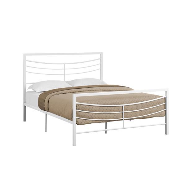 Grand lit avec base en métal, blanc