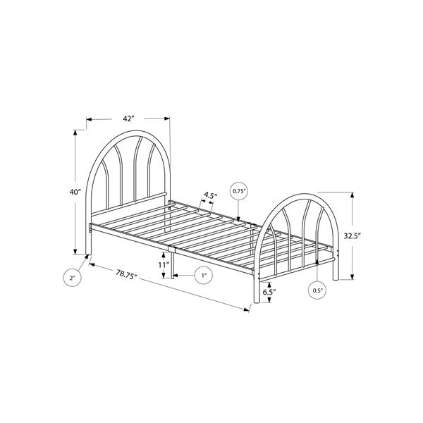 Monarch  Black 42-in X 78.75-in Twin Bed