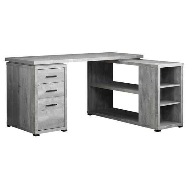 Monarch  Grey Reclaimed Wood Left or Right Facing Corner Computer Desk