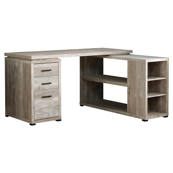 Monarch  Taupe Reclaimed Wood Left or Right Facing Corner Computer Desk