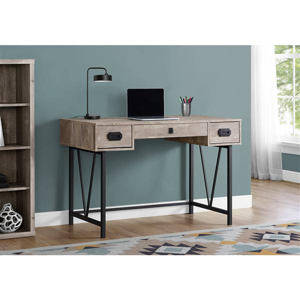 Monarch  48-in Taupe with Metal Frame Computer Desk