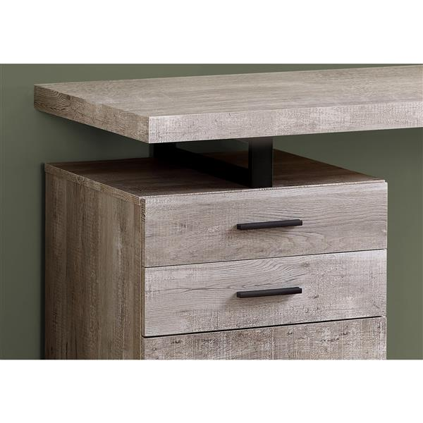 "Bureau en bois recyclé, 48"", taupe"