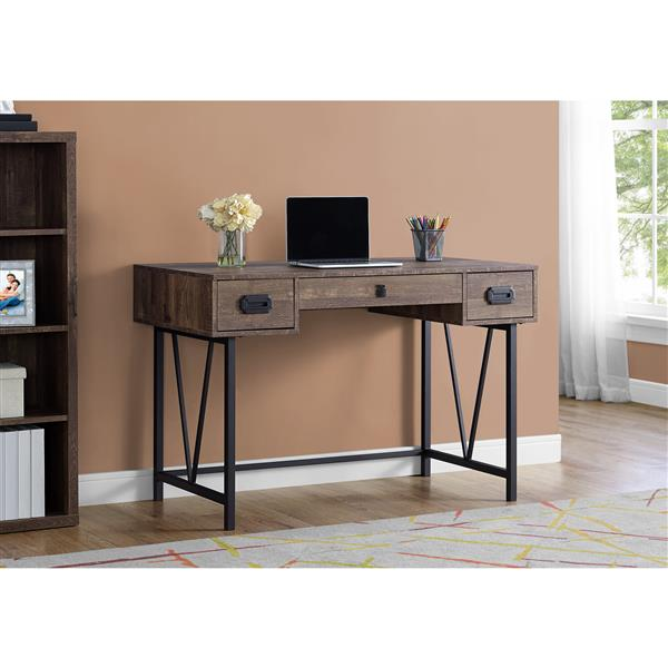 Monarch  48-in Brown with Metal Frame Computer Desk
