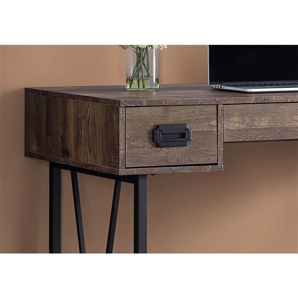 """Bureau en bois recyclé, 48"""", brun"""