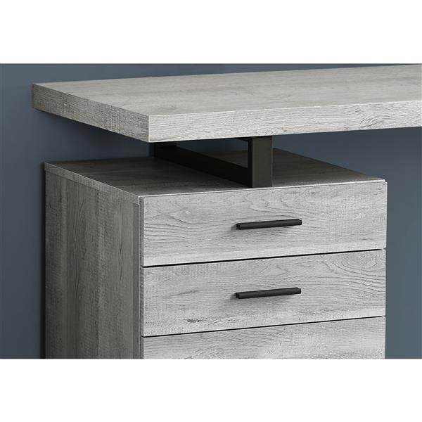 """Bureau en bois recyclé, 48"""", gris"""