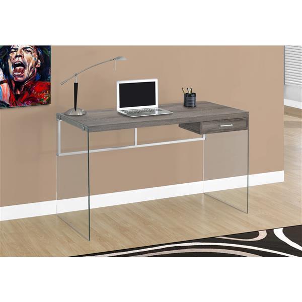 Bureau d'ordinateur Monarch, 48 po, taupe foncé et verre