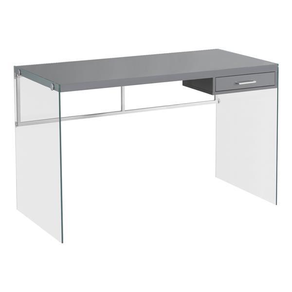 Monarch  30-in x 48-in Glossy Grey Computer Desk