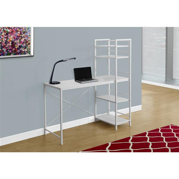 Monarch  47.25-in x 55-in White Bookshelf Style Computer Desk