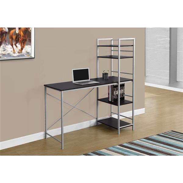 Monarch  47.25-in x 55-in Cappuccino Bookshelf Style Computer Desk