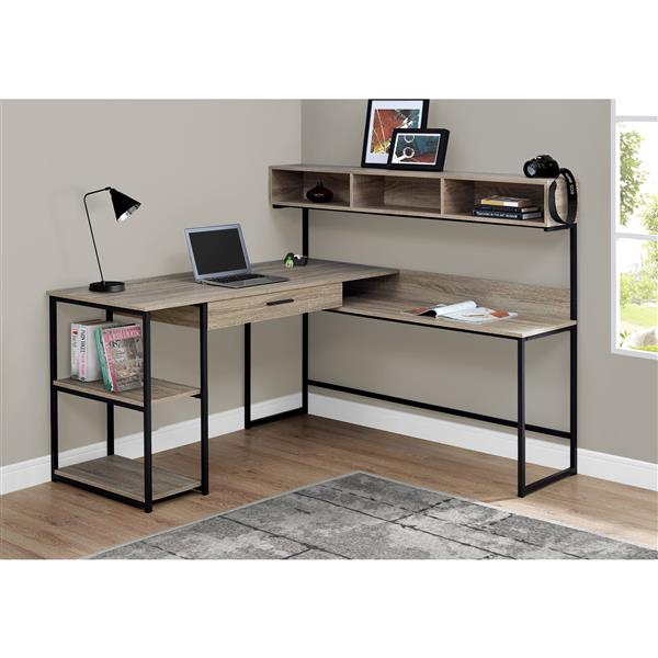 Monarch  47.25-in x 59-in Dark Taupe Computer Desk