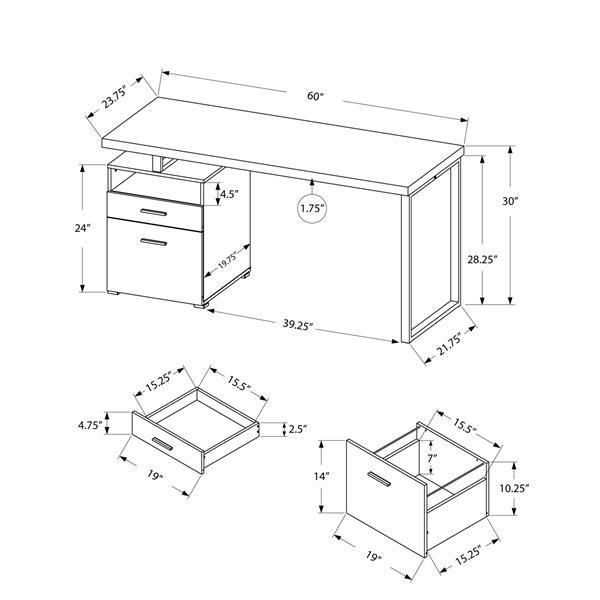 Monarch  30-in x 60-in Walnut Computer Desk