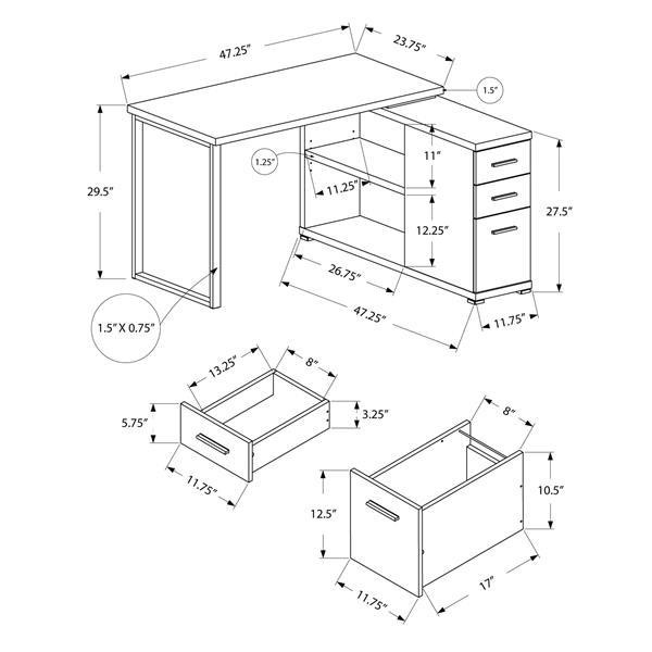 Monarch  29.5-in x 47.25-in White Computer Desk