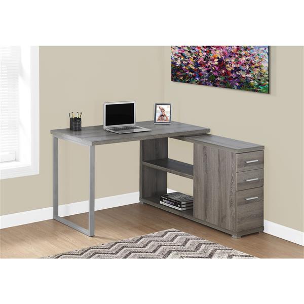 Monarch  29.50-in x 47.25-in Dark Taupe Computer Desk