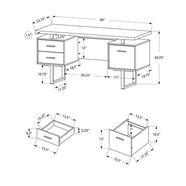 Monarch Specialties 30.25-in x 60-in Cappuccino Computer Desk