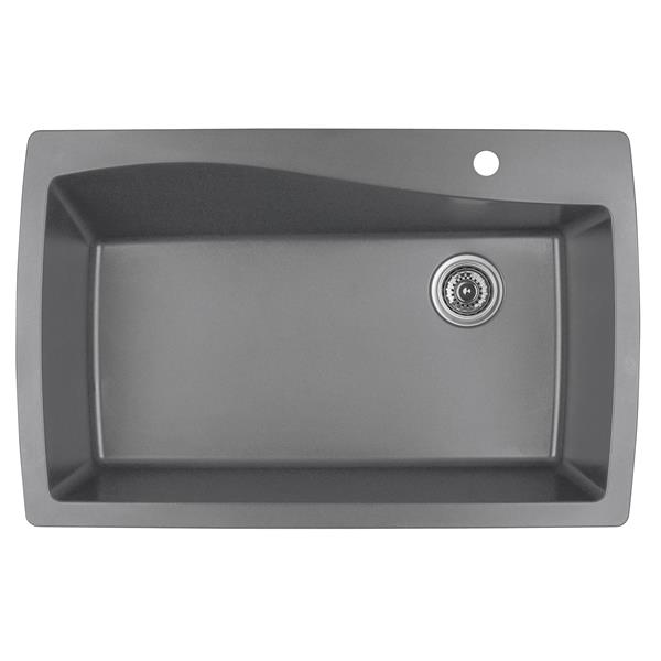 Decolav Karran 34-in Gray Quartz Large Single Bowl Kitchen Sink