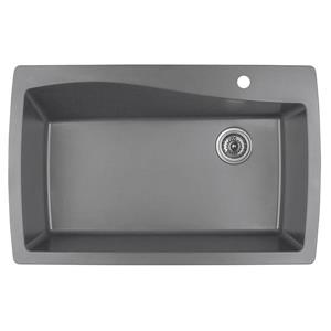 Karran 34-in Gray Quartz Large Single Bowl Kitchen Sink